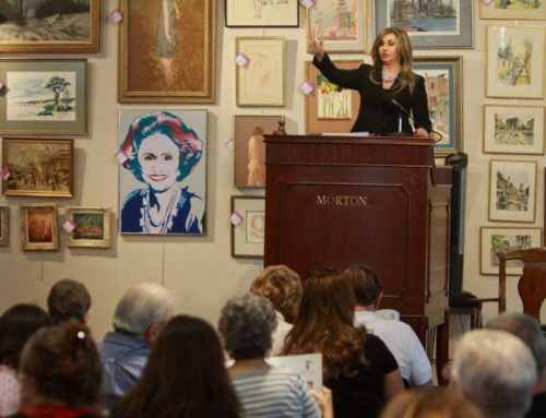 Houston Auctioneer, Colette Clift Mayers, conducts Houston Chronicle Society Columnist, Maxine Mesinger Estate Auction.